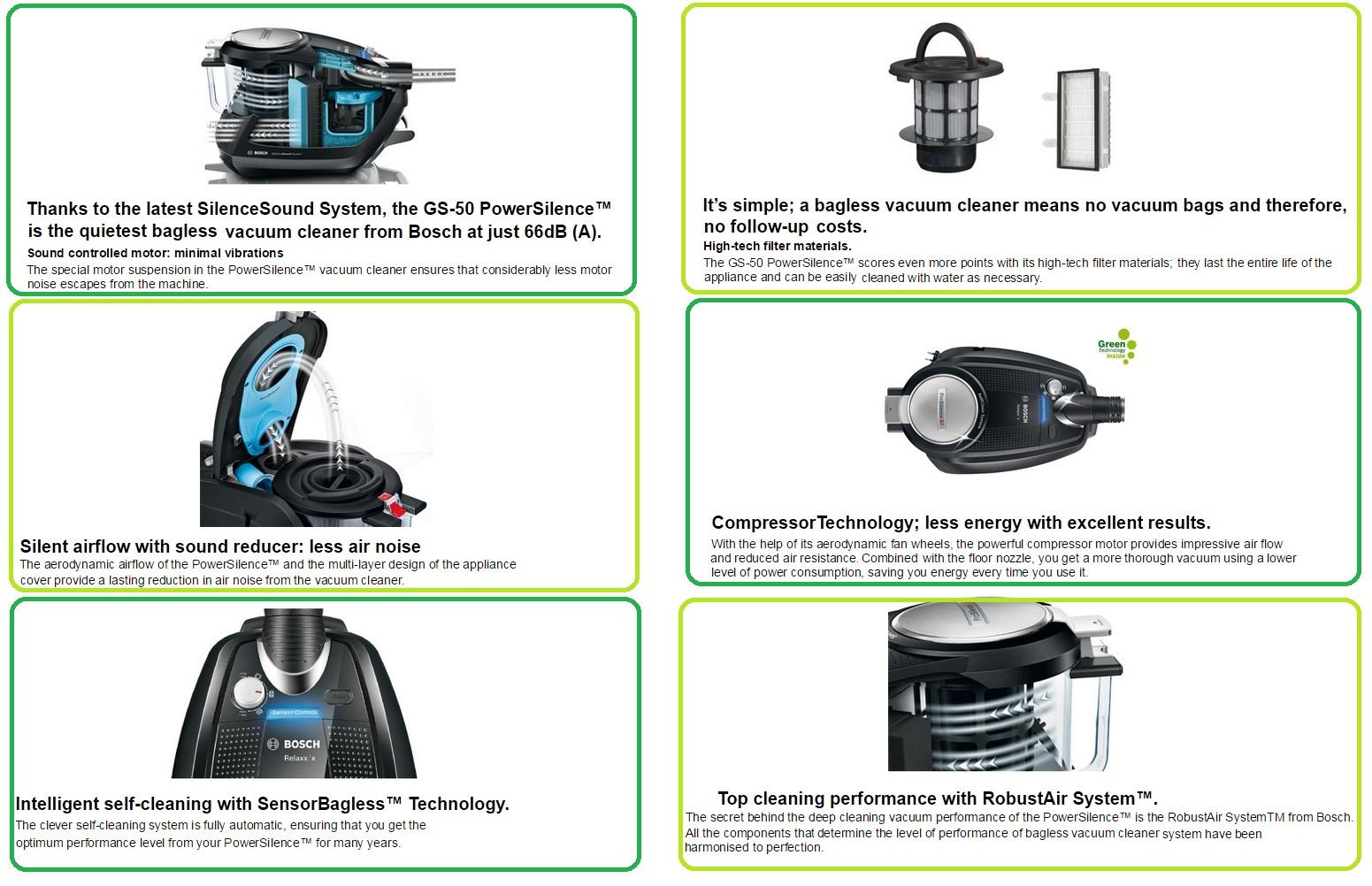 Bosch Gs50 Power Silence 2 Bagless Vacuum Cleaner